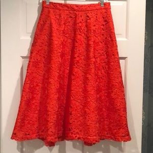 Banana republic orange floral lace skirt.